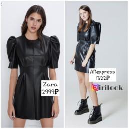 вещи-Zara-на-Алиэкспресс-zara-vs-aliexpress-платье-искусственная-кожа-irilook-отзывы