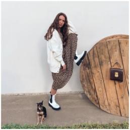 платье миди на осень грубые ботинки купить недорого с Алиэкспресс базовый гардероб отзывы @irilook